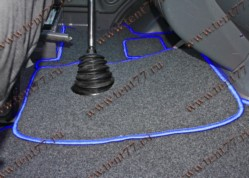 Ковры салона Газель Некст NEXT (ворсовые) цв.черный (из 3-х частей)  синий кант