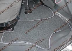 Ковры салона Газель Некст NEXT (ворсовые) цв.черный (из 3-х частей)  серый кант