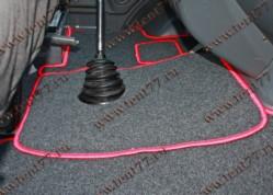 Ковры салона Газель Некст NEXT (ворсовые) цв.черный (из 3-х частей)  красный кант