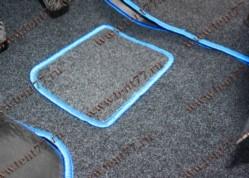 Ковры салона Газель 3302 (ворсовые) цв.черный (из 3-х частей)  синий кант