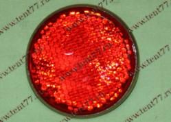 Световозвращатель круглый металл корпус с винтом (красный)