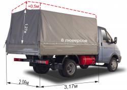 Тент ГАЗ 3302 Газель Отечественная ткань, высота увеличена на 500мм