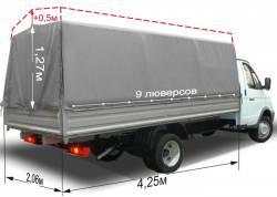 Тент ГАЗ 3302 Газель усиленный 2-х сторонний 4,25м, высота 2м