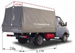 Тент ГАЗ 3302 Газель Отечественная  ткань, высота увеличена на 300 мм