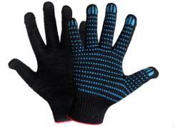 Перчатки ХБ 6 нитей с ПВХ (10 класс) (точка) чёрные