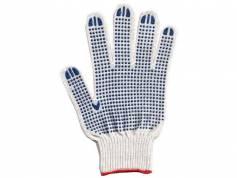 Перчатки ХБ 6 нитей с ПВХ (10 класс) (точка) белые