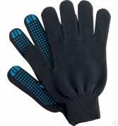 Перчатки ХБ 5 нитей с ПВХ (10 класс) (зима) чёрные полушерсть