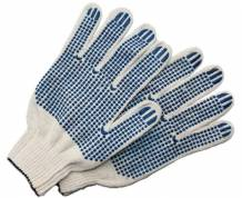 Перчатки ХБ 5 нитей с ПВХ (10 класс) (точка) белые