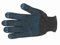 Перчатки ХБ 4 нити с ПВХ (10 класс) (точка) чёрные