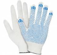 Перчатки ХБ 4 нити с ПВХ (10 класс) (точка) белые
