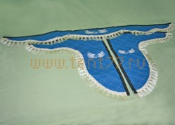 Ламбрекен из экокожи на Газель синий