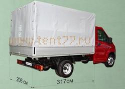 Тент Газель Некст 2-х сторонняя усиленная ткань шир-2.06 (под алюминиевый борт)