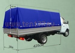 Тент ГАЗ 3302 Газель Импортная ткань, 4,25 м, увеличен на 500мм