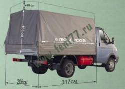 Тент ГАЗ 3302 Газель Отечественная ткань, высота увеличена на 400мм